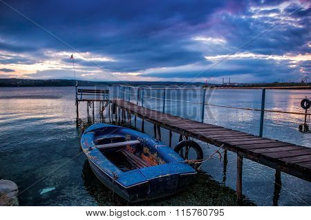 boat at wooden pier