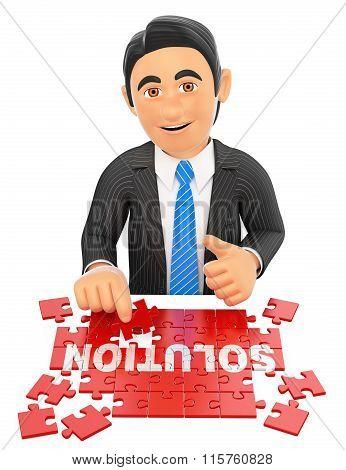 3D Businessman Solving A Puzzle. Solution Concept