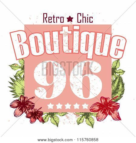 Boutigue Flower And Numbers Vector Print And Slogan
