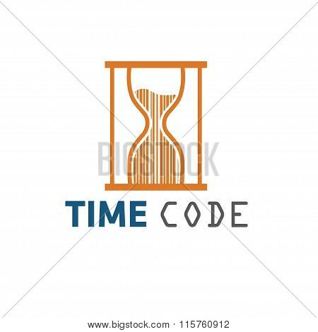 Sandglass With Barcode In It Vector Design Template
