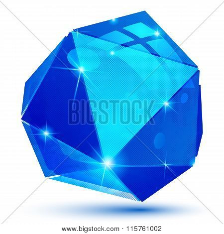 Plastic Pixilated Glossy 3D Tech Model, Reflective Colored Complex Figure, Gemstone Dot Element Isol