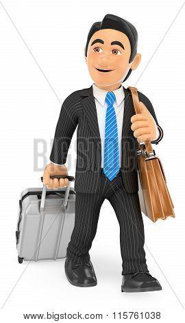 3D Businessman On A Business Trip