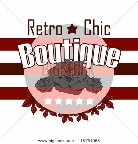 Round Retro Boutigue Rose Vector Print And Slogan