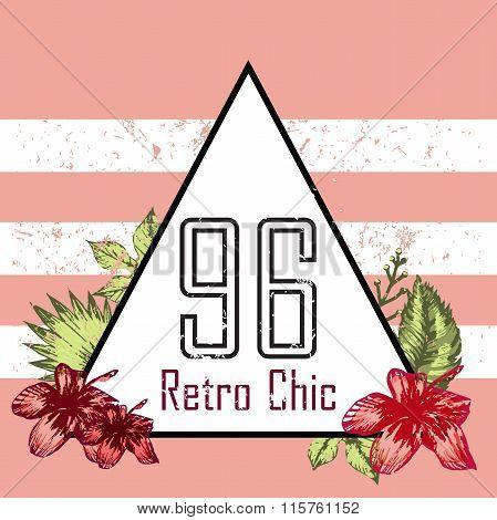 Retro Triangle Illustration  Vector Print And Slogan