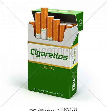 Pack of cigarettes on white isolated background. 3d