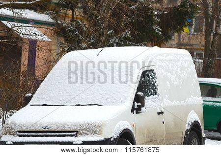 Kiev, Ukraine - January 25: Winter. A heavy snowfall in a city with transport on January 25, 2016 in Kiev, Ukraine