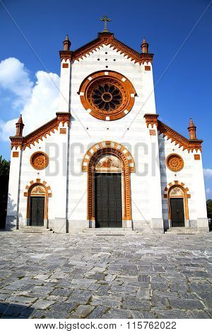 Church  In  The Mercallo    Closed Brick Tower Sidewalk Italy  Lombardy