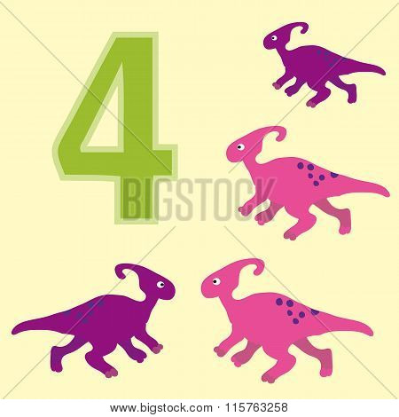 Number 4. Four Dinosaur (parasaurolophus ).