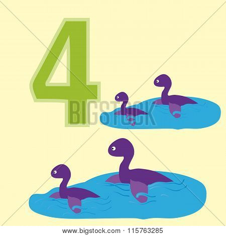Number 4. Four Dinosaur (plesiosaurs).