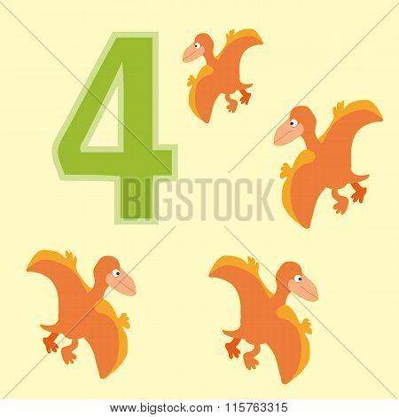 Number 4. Four Dinosaur (pteranodon).