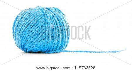 Blue Braided Skein, Crochet Yarn Ball Isolated On White Background