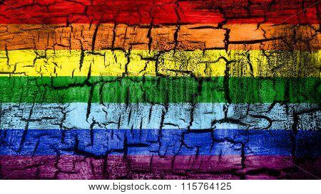 LGBT flag, rainbow flag painted on cracked ground