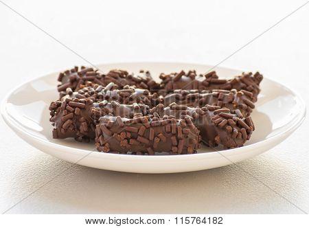 Tasty chocolate bonbon isolated on a white background