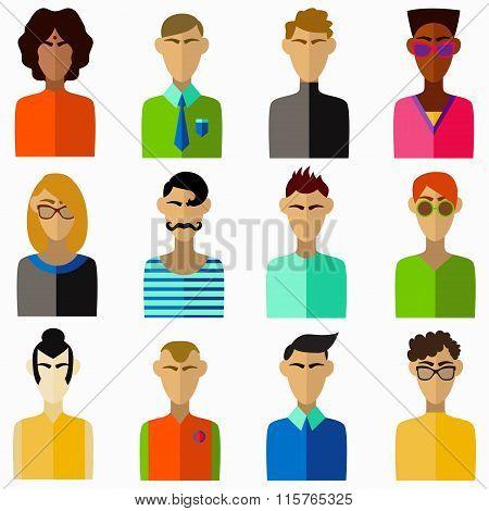 Men characters vector set