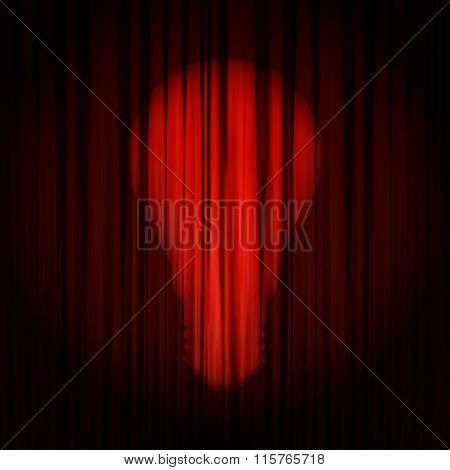 Concept Of Expression Idea. The Ray Of Light In Form Of Light Bulb Shines On The Red Curtain