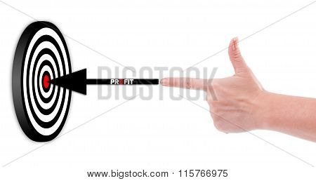 Hand Shooting Profit To A 3D Target Concept.