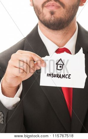 House Insurance Written On A Paper.