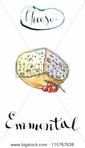 Piece Of Emmental Cheese Head With Cherry Tomato And Dill