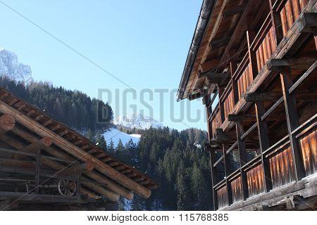 Alpine village, Dolomites skiing resort.
