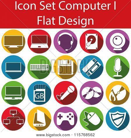 Flat Design Icon Set Computer I