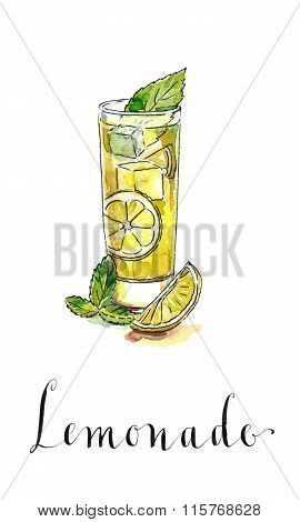 Glass Of Lemonade Or Lemon Juice With Ice Cubes And Sliced Lemon