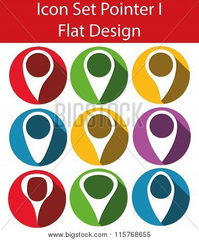 Flat Design Icon Set Pointer I