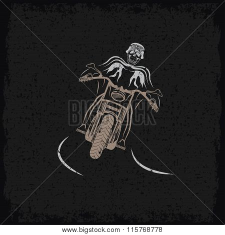 Biker Theme Grunge Label With Motorbike And Skull