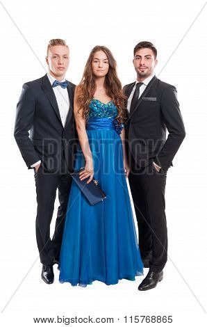 One Woman And Two Men, All Dressed Elegant.