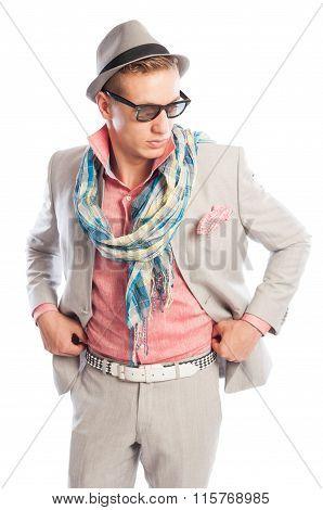 Fashionable Male Model Wearing Grey Suit.