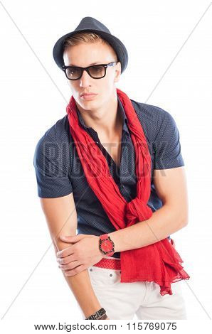 Hat And Sunglasses With Blue Shirt And Red Scarf And Watch.