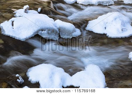 Mountain River Covered With Ice And Snow.