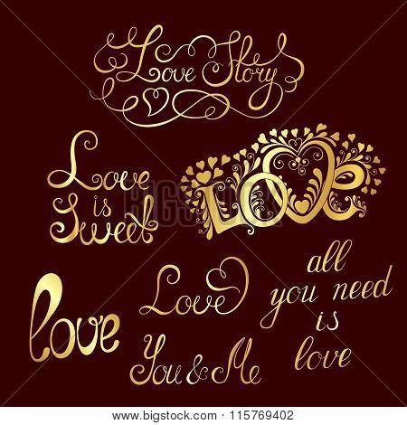 Set of hand-written words. Love lettering.
