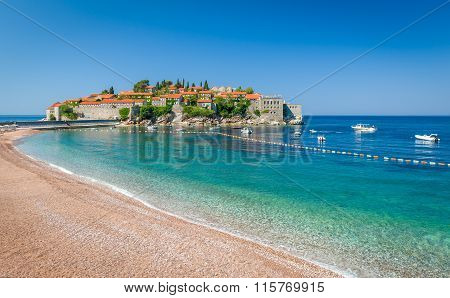 Sveti Stefan island and paradise beach in Montenegro