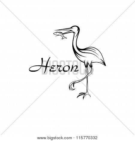 Heron Bird With Fish In Outline Style