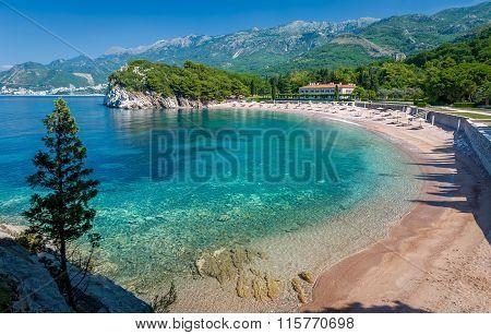 Montenegro bay with sand beach
