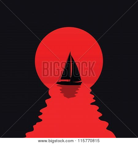 Yacht silhouette on sunset