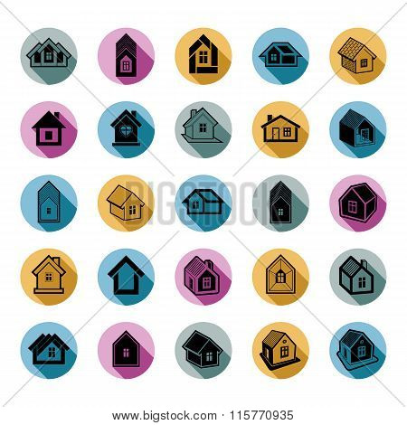 Different houses icons for use in graphic design set of mansion conceptual symbols vector