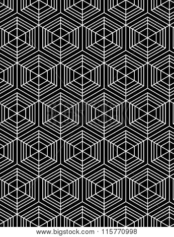 Geometric Seamless Pattern, Endless Black And White Vector Regular Background. Abstract