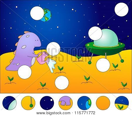 Friendly Alien Watering The Plants On His Planet. Complete The Puzzle And Find The Missing Parts Of