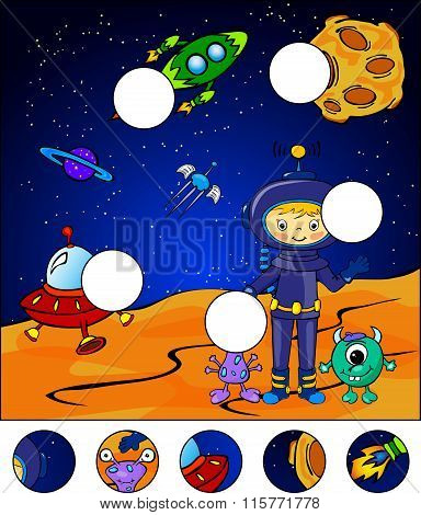 Astronaut, Martians And Rocket In The Space. Complete The Puzzle And Find The Missing Parts Of The P