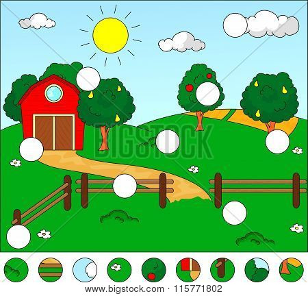 Rural Landscape With Barn, Corral, Fields And Fruit Trees. Complete The Puzzle And Find The Missing