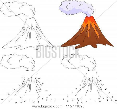 Cartoon Erupting Volcano. Vector Illustration. Coloring And Dot To Dot Game For Kids