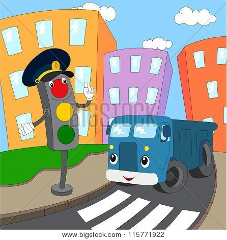 Cartoon Blue Lorry And Traffic Lights On A Pedestrian Crossing