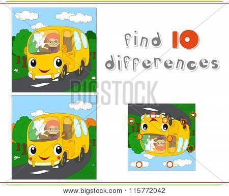 Cartoon Yellow Bus. Educational Game For Kids: Find Ten Differences