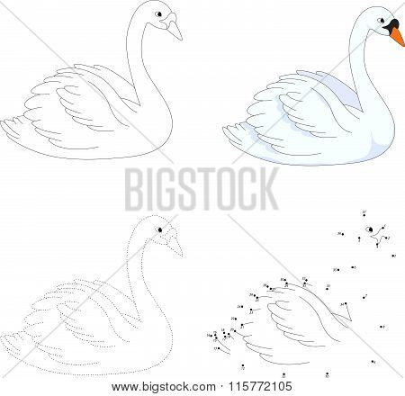 Cartoon Swan. Vector Illustration. Dot To Dot Game For Kids