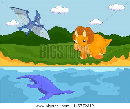 Funny Cute Pterodactyl, Pliosaur And Triceratops