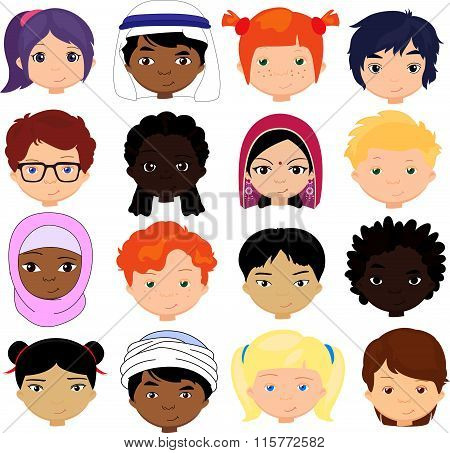 Boys And Girls Of Different Nationalities. Multinational Children