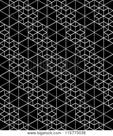 Black And White Abstract Textured Geometric Seamless Pattern. Vector Contrast Textile Backdrop