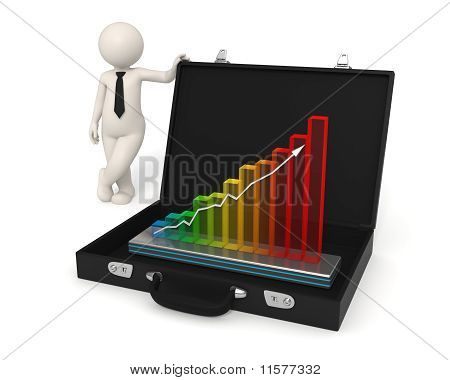 3D Man Business Growth Hologram Presentation