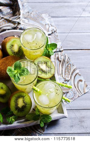Cocktail With Kiwi And Mint